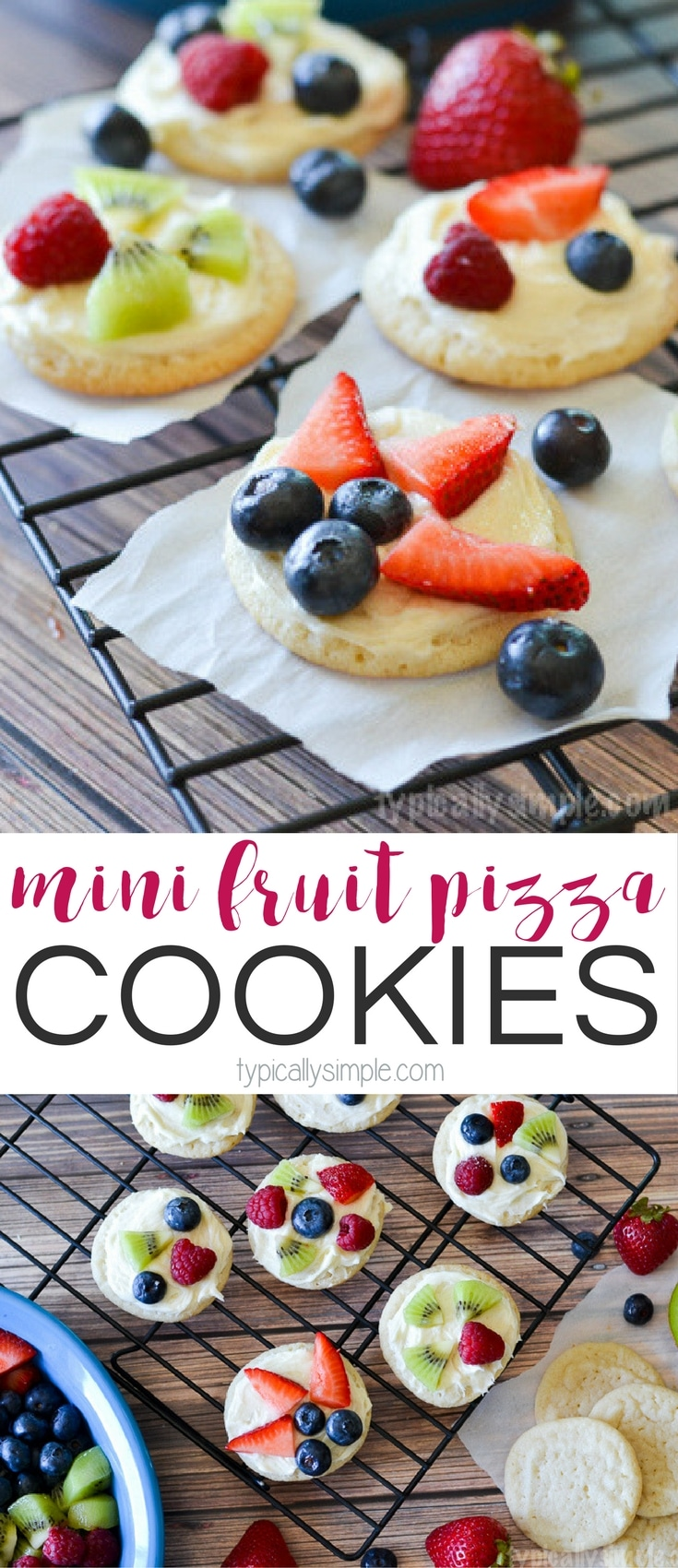 A simple dessert that only requires a few ingredients, these mini fruit pizza cookies are a delicious treat to make with the kids!