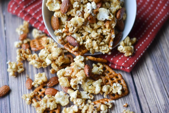 A sweet and salty treat that is perfect for snacking on while watching the game or a movie, this caramel corn snack mix is super easy to make in your crock pot!