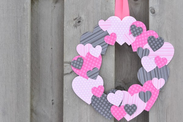 Scrapbook Paper Heart Wreath