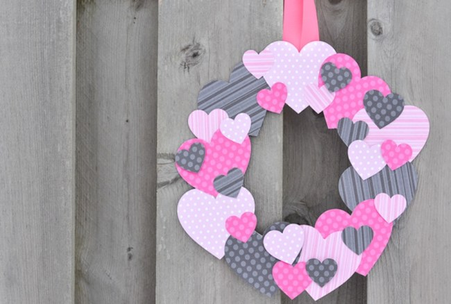 Scrapbook Paper Heart Wreath