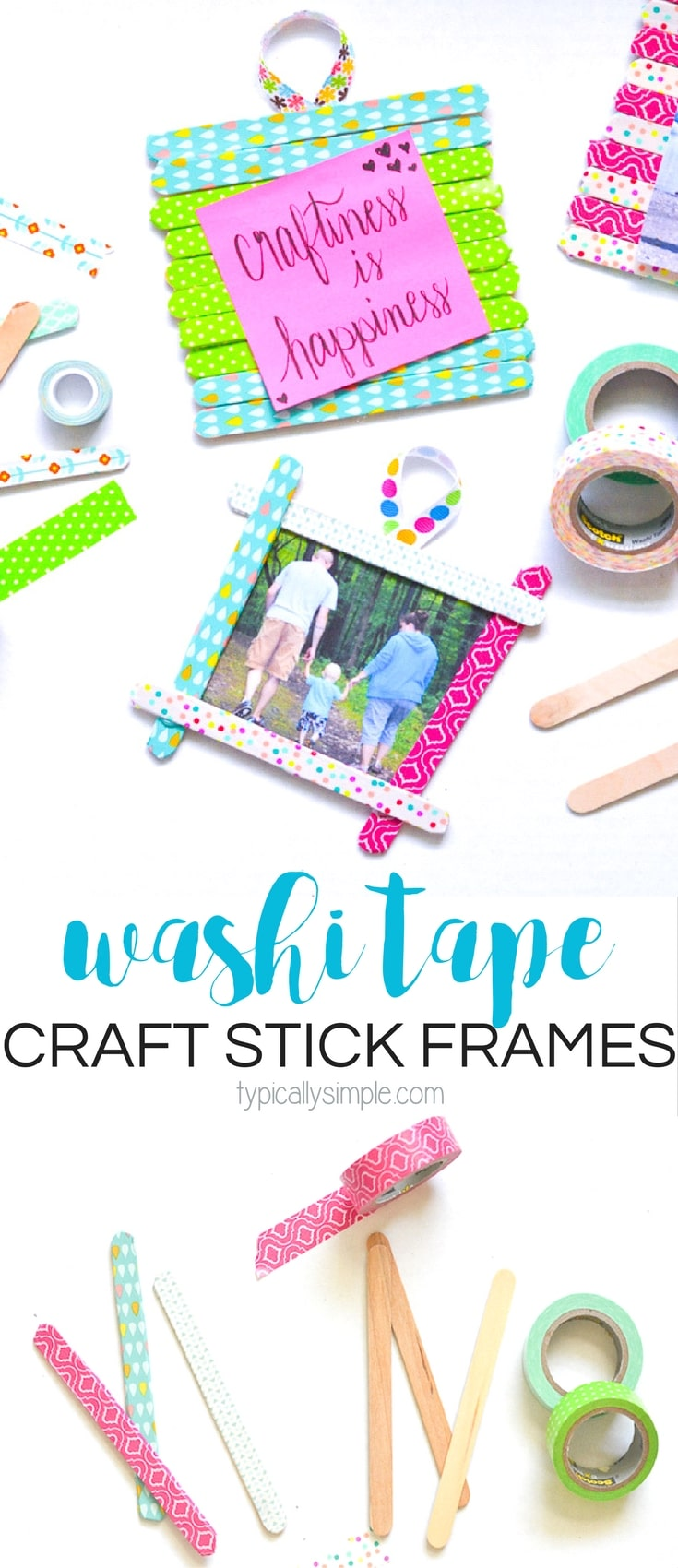 These washi tape craft stick frames are a fun craft project for both kids and adults alike! A great rainy day craft or make them for as a thoughtful, homemade Mother's Day gift!