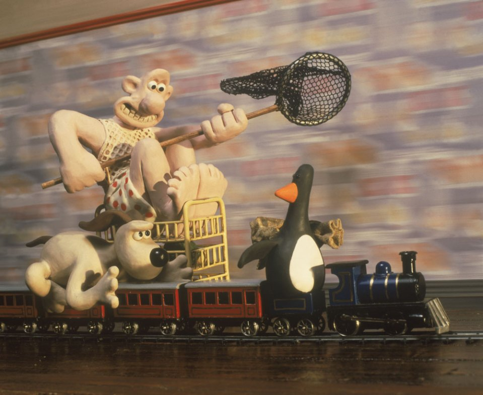 "Wallace & Gromit chasing the penguin in ""The Wrong Trousers"""