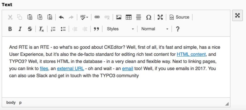 CKEditor in Typo3 8.5