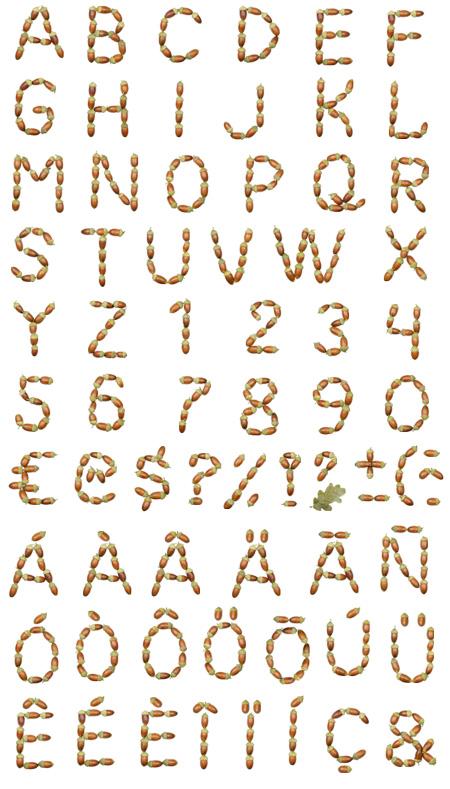 acorns-font-alphabet