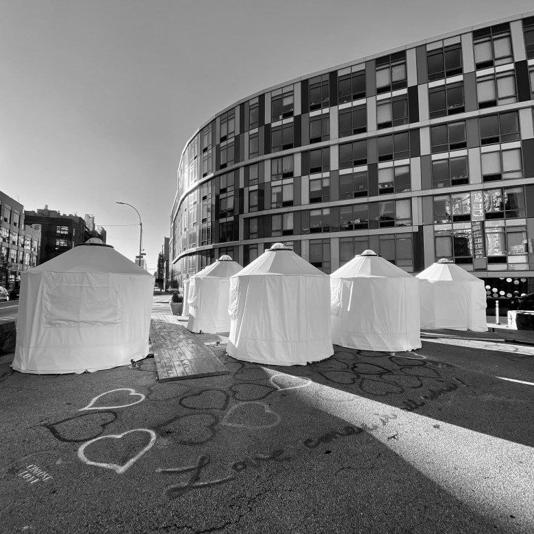 Outdoor dining yurts in Williamsburg