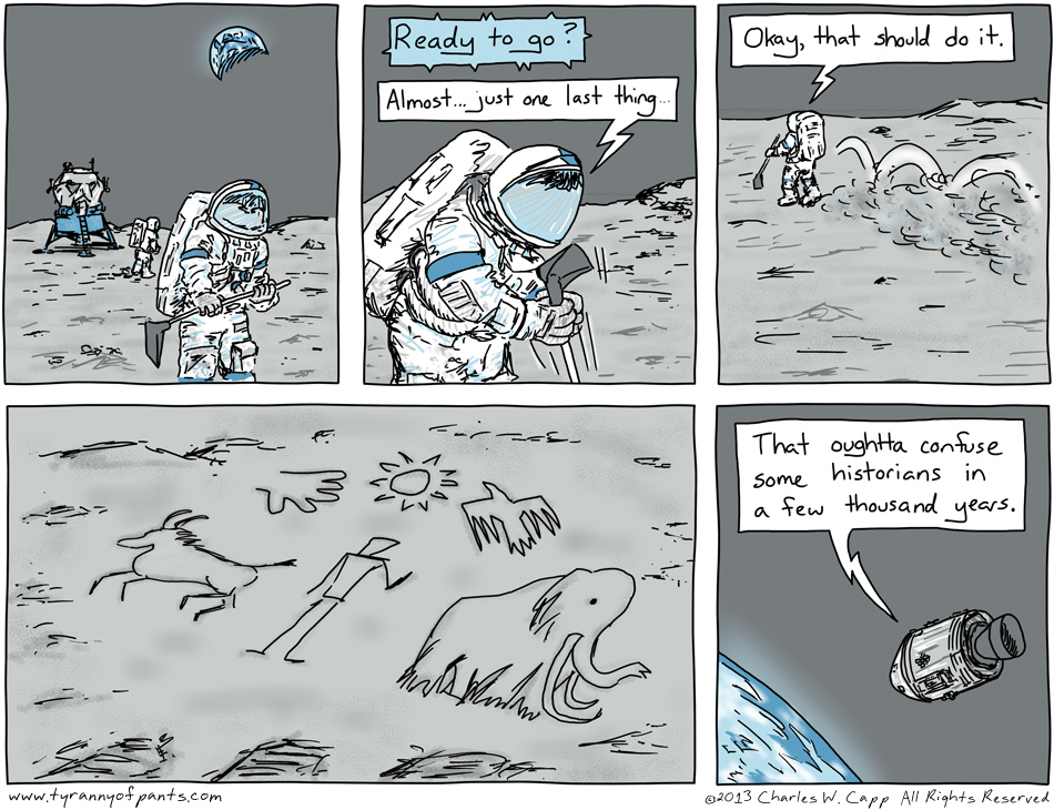 "This was kind of a sad comic to make, since it feels like the human exploration of space is gradually shutting down, at least here in the United States.  I couldn't shake the feeling that a generation decided to give up on exploration and human achievement simply to go home and watch television.  Maybe it's transitioning to ""private enterprise"", but it feels like we'll have to find oil on an asteroid before the forces of capitalism decide they want to go off-planet."