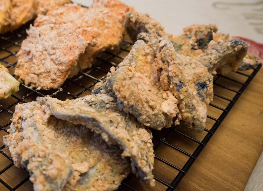 Indigo Milk Caps breaded and ready to fry!