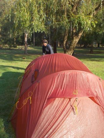 091. Taking down cold tent at Cann River
