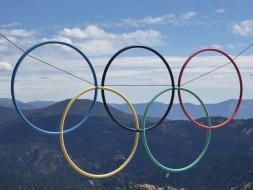 139. Olympic rings at the top of the ariel tram
