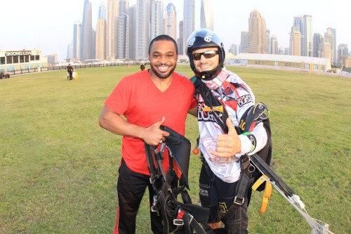 UAE Sky dive dubai Tyrone Smith palm island skydive celebrities