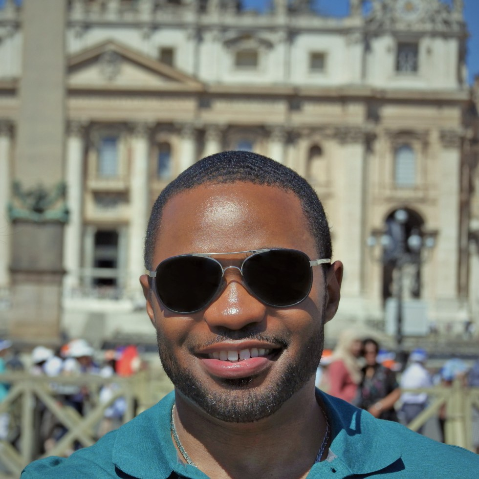 Celebrity musician producer influencer Tyrone Smith in Rome at Vatican City