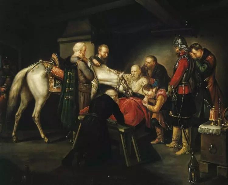W ciemnej prostej na prostym łóżku siedzi wspierany przez towarzysza starszy mężczyzna w białej koszuli. Jego nogi przykryte są czerwoną narzutą. Dookoła mężczyzny znajduje się siedmiu mężczyzn. Jeden z nich klęczy na jednym kolanie i ujmuje rękę umierającego. U stóp łóżka klęczy modlący się ksiądz w czarnej sutannie. Jeden z dwóch mężczyzn na lewo od łóżka przytrzymuje białego konia, z którym żegna się umierający.