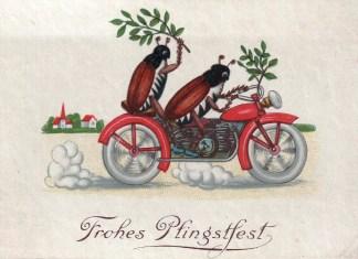 """Dwa chrząszcze jadą na czerwonym motocyklu. Jeden z nich trzyma gałązkę brzozową. Taką samą gałązką przyozdobiona jest kierownica motocyklu. U dołu napis: """"Frohes Pfingstfest"""" - """"Wesołego dnia Pięćdziesiątnicy!"""""""