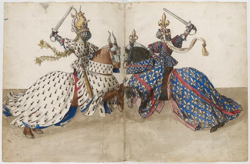 Średniowieczna iluminacja przedstawiająca dwóch walczących rycerzy. Obaj siedzą na przeciw siebie na lekko wspiętych koniach i trzymają w wzniesione miecze. Na zasłaniających całą twarz hełmach znajdują się klejnoty heraldyczne, podobnie jak na głowach koni. Obaj walczący mają na sobie szaty heraldyczne (biały i błękitny). Konie okryte są szatami heraldycznymi.