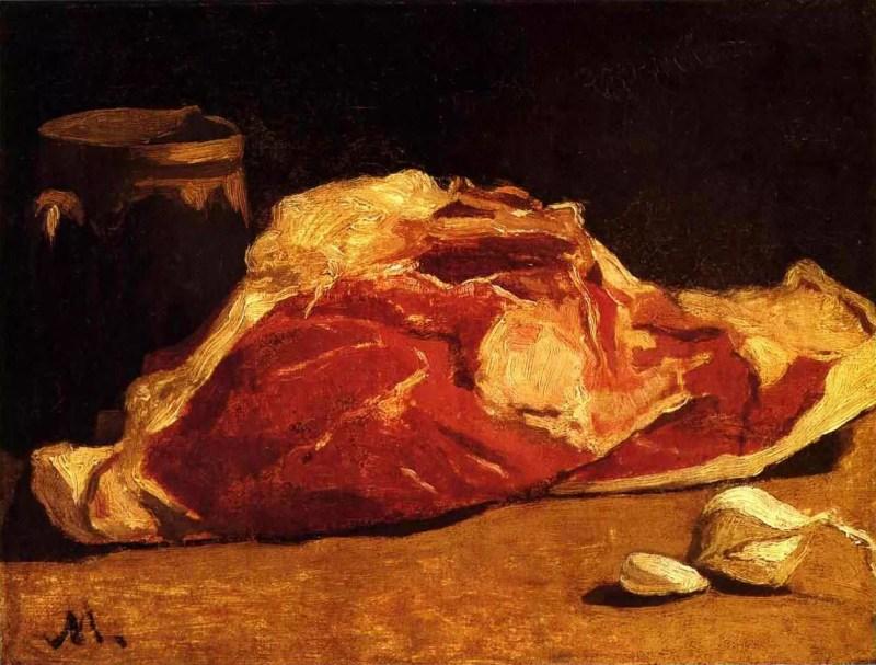 Obraz przedstawiający duży kawał surowego mięsa.