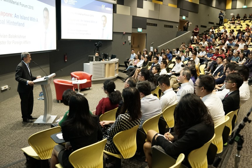 Dr Vivian Balakrishnan addressing students at the NTU Students Union Min...[1]