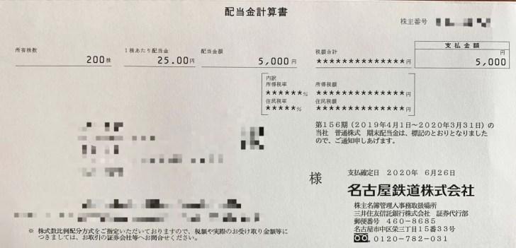 名古屋鉄道の期末配当金計算書(2020年3月期)