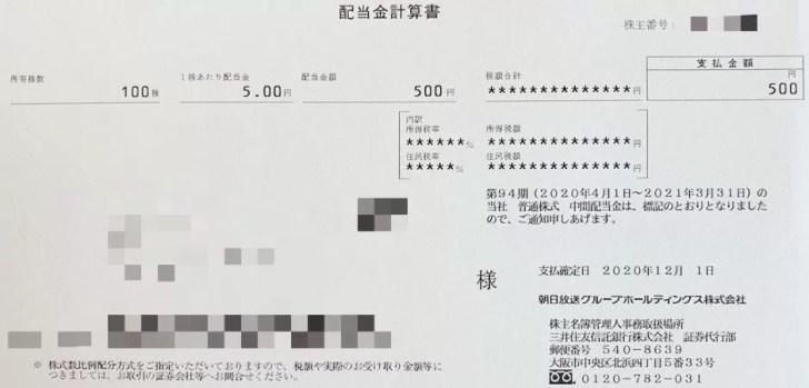 朝日放送の配当金計算書