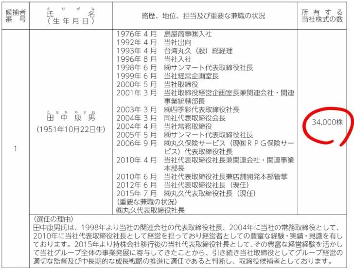 リテールパートナーズの田中社長の保有株数