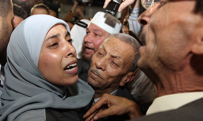 Ahlam Tamimi upon her release from prison in 2011