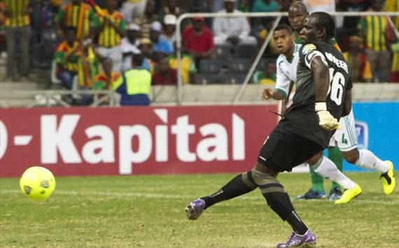 Zambia goalkeeper Kennedy Mweene scores penalty against Nigeria