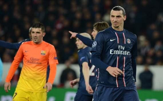 David Villa, Zlatan Ibrahimovic - PSG v Barcelona - UCL