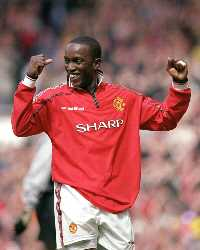 Dwight Yorke Of Manchester United Celebrates During the FA Carling Premiership Game Between Manchester United and Chelsea(Getty Images)