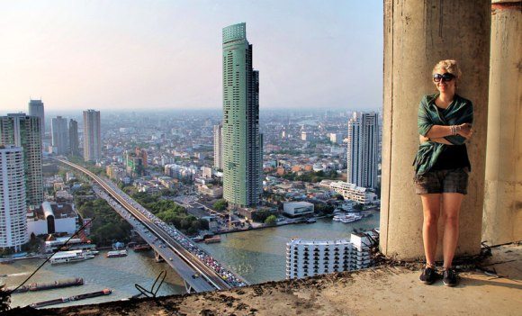 View over the river from the Sathorn Unique Building, Bangkok, Thailand. © Sabrina Iovino | JustOneWayTicket.com