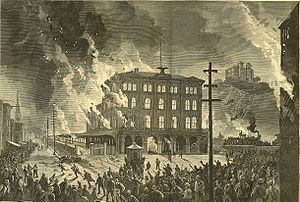 The burning of Union Station - Pittsburgh (from Harpers Magazine)