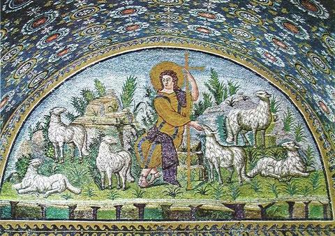 Representación de Cristo como el Buen Pastor.