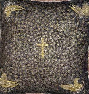 Detalle de bóveda celeste con representación de teramorfos y en el centro la cruz.