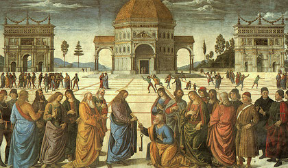 Cristo entregando las llaves a San Pedro. El Perugino. Capilla Sixtina.Roma