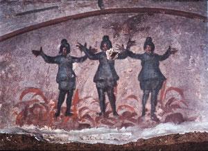´Jóvenes hebreos en el horno,la paloma con la rama de olivo símbolo de resurrección y salvación.
