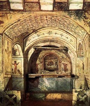 Catacumbas de San Calixto,SIII, enterramientos subterráneos con ritual  y galerías estrechas con entramado laberíntico,217 d.C.