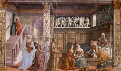 Domenico Ghirlandaio.Pintura mural :Nacimiento de la Virgen .Santa María Novella.(Florencia)