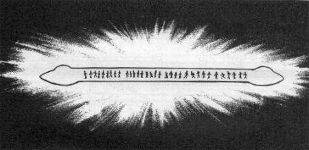 Aspecto general del fenómeno luminoso observado cerca de las vías del ferrocarril. Las sombras asumían contornos antropomorfos y se movían en distintas direcciones.