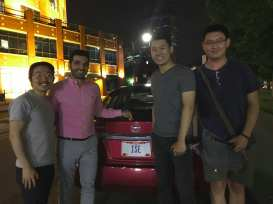 Note the License Plate! (l to r) Jangho Park, Hamed Rahimian, Arthur Yang, and Chennan Zhou