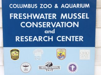 sign for Freshwater mussel conservation and research center