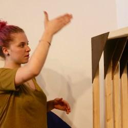 Sanchez explains how she built the canvases.