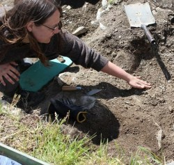 Julianne participating in an excavation in Italy