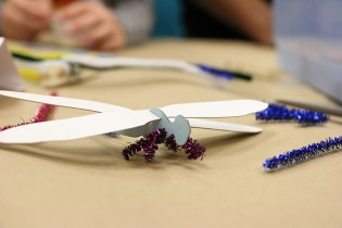 Borrowed pipe cleaners from the Googly-Eyed Dragonfly activity, people were able to create insects with bendy legs!