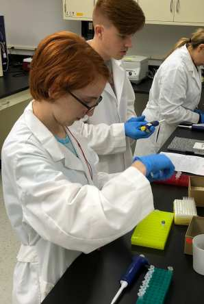 Myself (left), Danny (middle) and Natalia (right) working on DNA extraction and amplification in the lab