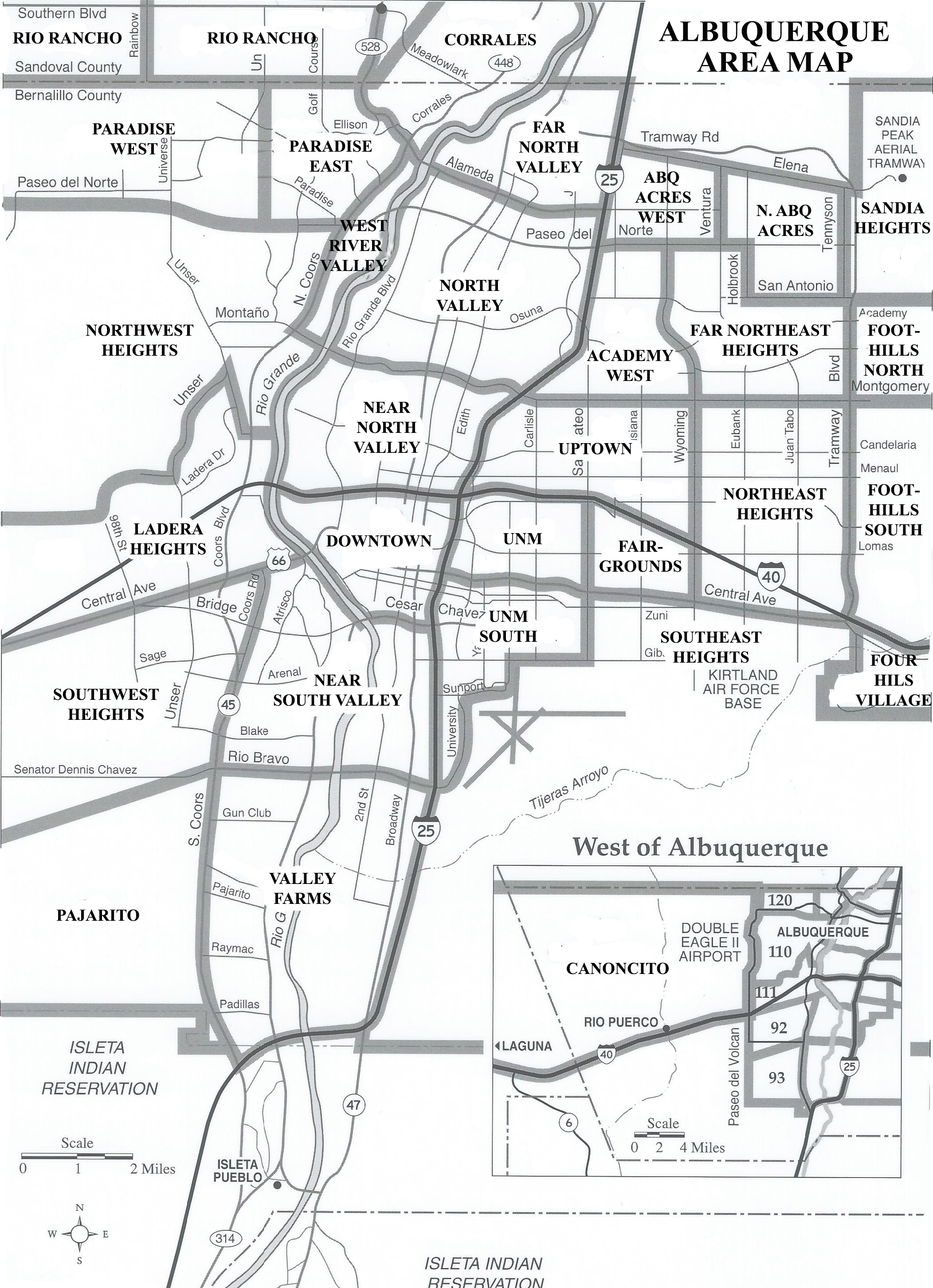 Map Of The Albuquerque Area