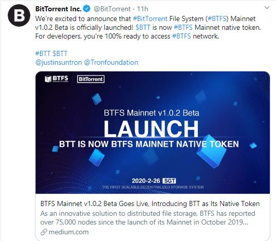 BTFS Beta Mainnet is live