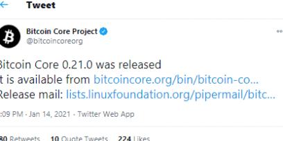 Bitcoin Core v 0.21.0 released