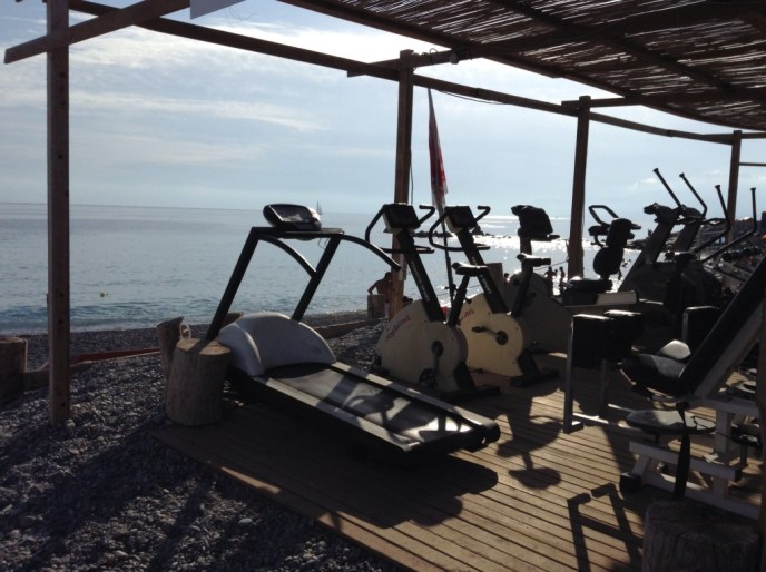 Here's a cute little gym on the beach.