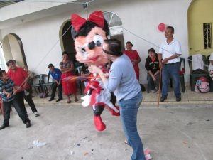 I think I spent more time laughing than actually hitting the piñata!