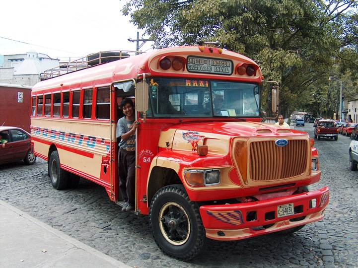 One of the many types of chicken buses in Guatemala