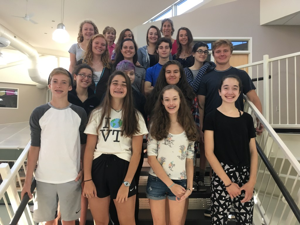 The 2016-2017 Student Council Members and Advisors. * indicates new members. From left to right starting at the top: Deb Stevens, Kit Walker, Emma Curchin, Ellie Stroh, Lauren Morse, Emily Richards, Ruby Lamb, Kaitlyn Phillips*, Stephen Looke*, Libby Belitsos*, Cooper Lamb, Jesse Colnes*, Frances Kaplan*, Abby Latour, Waylon Kurtz*, Julia Oliver,* Willa Lane*, Nora Dillon*