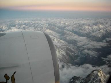 Sunrise over Karakoram Range, Pakistan. EK-322, DXB - ICN
